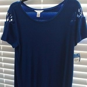 Blue childrens eposed shoulder dress.